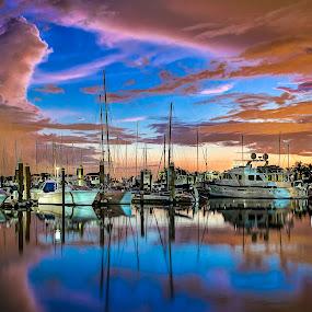 A Clearing by Jim Hamel - Transportation Boats ( water, reflection, sailboats, florida, marina, key biscayne )