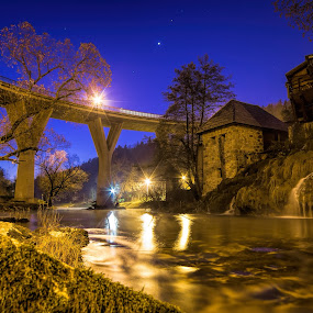 most na rijeci by Vedran Bozicevic - City,  Street & Park  Night ( night photography, waterscape, blue hour, waterfall, bridge )