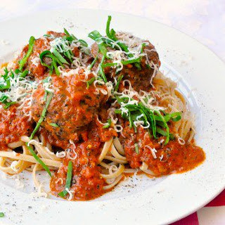 Linguine with Meatballs in Blush Tomato Asiago Sauce