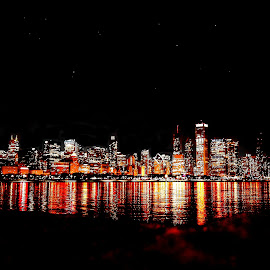 Chicago Night by Fraya Replinger - City,  Street & Park  Skylines ( chicago skyline, skyline, illinois, colorful, night, chicago )