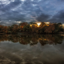 Reflection of Fall by Ron Haddaway - Landscapes Sunsets & Sunrises