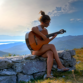 Girl with Guitar in Nature by Dalibor Jud - People Portraits of Women ( playing, music, girl, nature, outdoors, croatia, summer, guitar, stella, hrvatska )