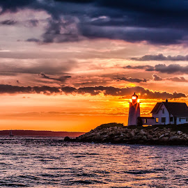 Wings Neck Lighthouse by Carl Albro - Buildings & Architecture Public & Historical ( building, waterscape, sunset, lighthouse )