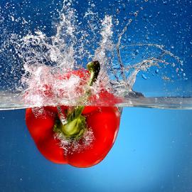 Capsicum by Vineet Johri - Food & Drink Fruits & Vegetables ( water tank, red, splash, vkumar photography, capsicum )