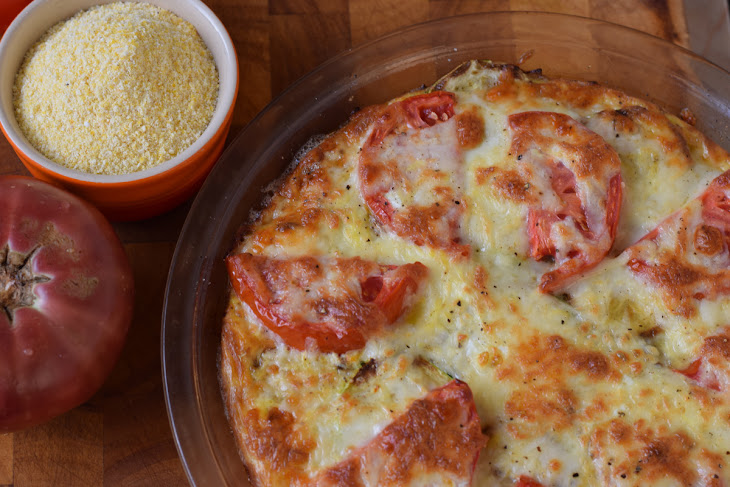Baked Polenta Pie with Farmer's Market Tomatoes, Caramelized Onions ...