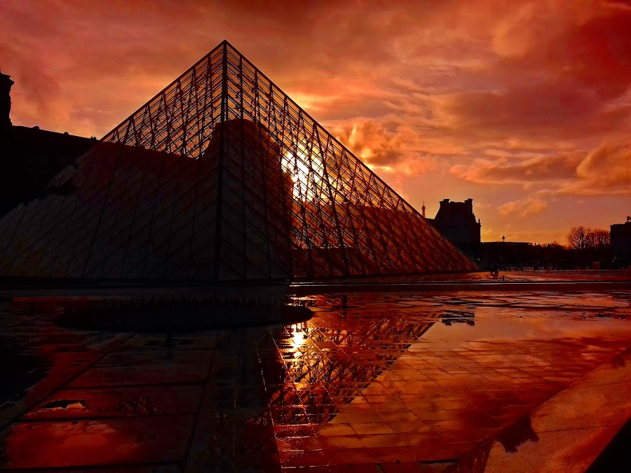Sunset in Paris by Ciprian Apetrei - Instagram & Mobile Android ( clouds, paris, reflection, sunset, mobile photos )