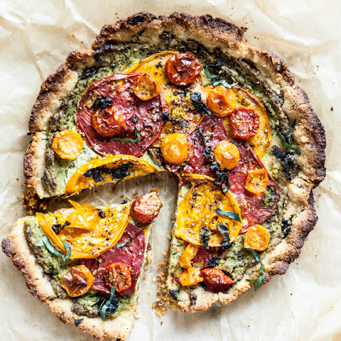 Heirloom Tomato Pie With Almond Flour Crust + Creamy Cashew Herb Filling