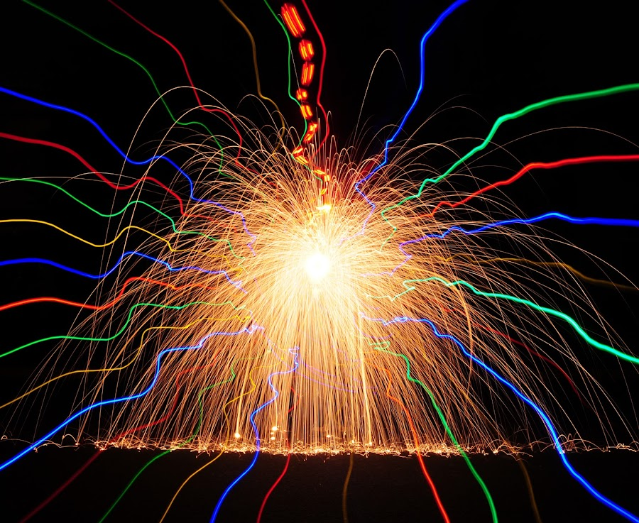 Fire, Earth & LED's by George Krieger - Abstract Light Painting ( exposure, led, writing, steel, long, light, wool, painting )