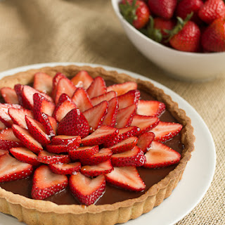 Strawberry Topped Chocolate Tart…#ChocolateParty