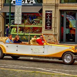 Young tourists, old car by Radu Eftimie - Transportation Automobiles ( prague )