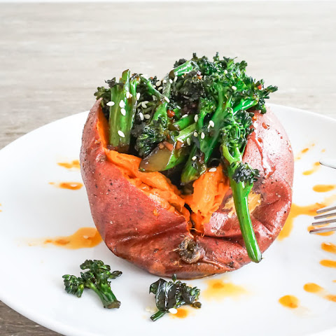 Stir Fried Broccolini Stuffed Sweet Potato with Spicy Sriracha Vinaigrette