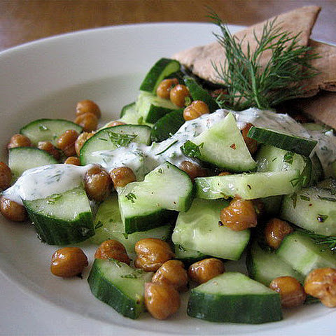 Cucumber and Roasted Chickpea Salad