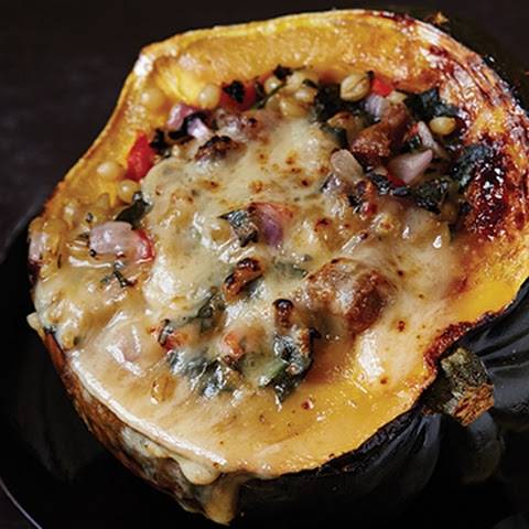 Stuffed Squash with Sausage and Chard