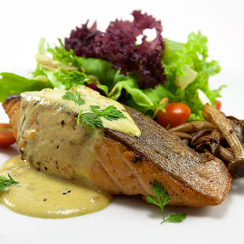 Salmon Steak by Ah Aun - Food & Drink Cooking & Baking ( steak, salad, mushroom, fish, food, salmon )