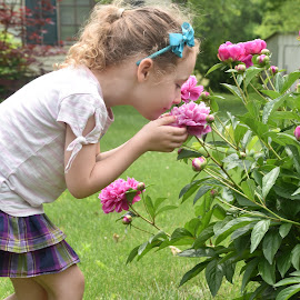 Rosie and Peonies by Michael Smith - Babies & Children Children Candids ( peonies, flowers, young girl, children, candid )