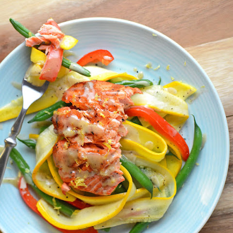 Warm Summer Garden Salad with Salmon