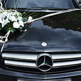A Really Big, Big Day. by Marcel Cintalan - Wedding Other ( black and white, transport, wedding, vehicle, wedding flowers, marriage, just married )