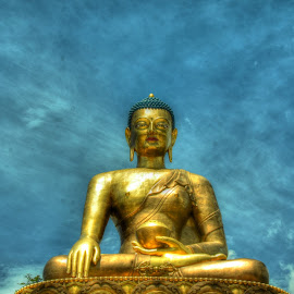 Buddha by Shreya Bansal - Novices Only Objects & Still Life ( buddhism, blue sky, sky, bhutan, buddha )