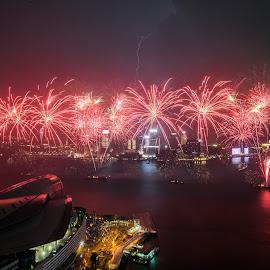 Fireworks lightning by Carol Tan - Buildings & Architecture Public & Historical ( #20thanniversary, #fireworks, #lightning, #hongkongreturntochina, #celebration, #hongkong,  )