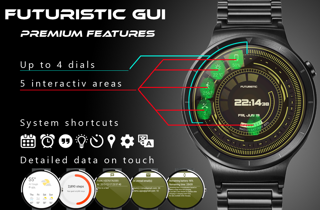 Futuristic GUI Watch Face Screenshot 3