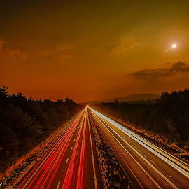 light trails by Steve Evans - Transportation Roads ( roads lights )
