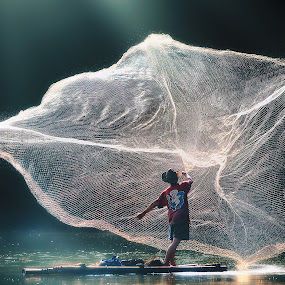BIG Catcher by Suloara Allokendek - People Body Art/Tattoos ( water, catch, lake, fisherman, net, man )