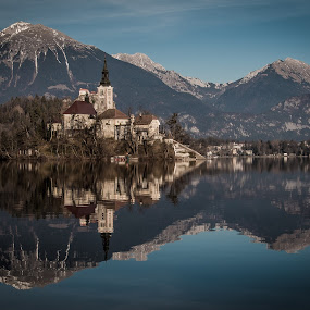 Dark Bled by Mario Horvat - Landscapes Mountains & Hills ( reflection, mountains, slovenia, bled, lake,  )