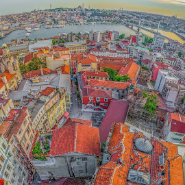 Istanbul by Munzer Al-Seed - City,  Street & Park  Neighborhoods ( fisheye, sunset, wide angle, sea, bridge, cityscape, architecture, turkey, istanbul, bridges, panorama, city )