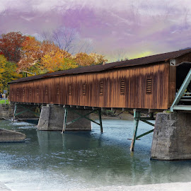 Harpersfield Covered Bridge by Melissa Davis - Digital Art Places ( digital edits, harpersfield, covered bridge, ashtabula, missysphotography )