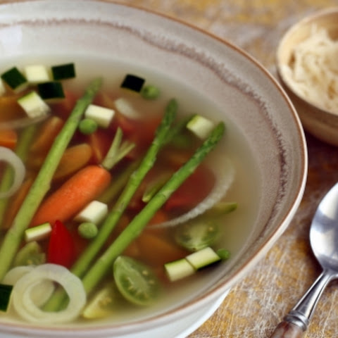 Spring Vegetable Soup With Basil Pesto (pictured)