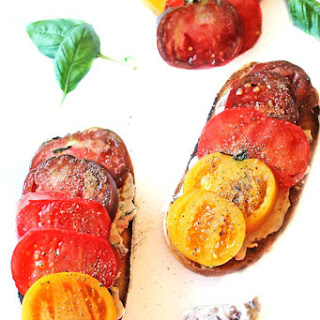 Heirloom Tomato Toast With Olive Walnut Basil Cream Cheese