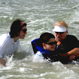 Jackie, Anthony, Jen in Surf by John Wright - Sports & Fitness Swimming ( water, water fun, curioso, image brief, christopher )