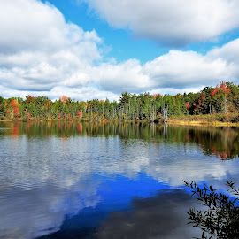 A Taste of Fall by Kathy Booth - Landscapes Waterscapes ( clouds, michigan, reflection, fall colours, fall colors, waterscape, autumn, fall, reflections, cloudscape, cloud, waterscapes )