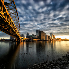 Along the Monongahela by Bob Fawcett - City,  Street & Park  Skylines ( pittsburgh, sunrise, cityscape, bridge, river )