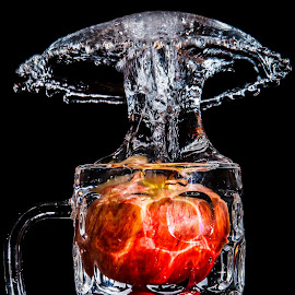 Red Apple by Ray Shiu - Food & Drink Fruits & Vegetables ( mug, water, isolated, f&b, fruit, red, beverage, splash, food, apple, artistic, healthy, eat, black, edible )