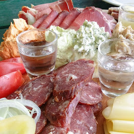 Homemade cold cuts by Aleš Maučec - Food & Drink Meats & Cheeses ( tomato, food, meat, vegetables, cheese )