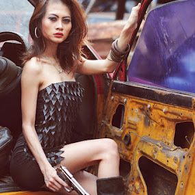 Sexy and Dangerous by Kresnata Adijaya - People Portraits of Women ( sexy, dangerous, gun )