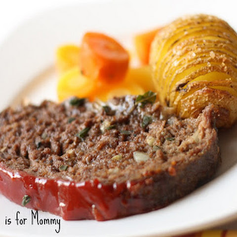 Meatloaf, Hasselback Potatoes & Ginger Maple Carrots