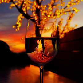 Wine at Sunset by Geoffrey Chen - Food & Drink Alcohol & Drinks ( wine, orange, sunset, yellow, fire,  )