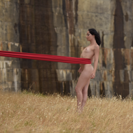 Damn red wall. by Jason Elphick - Nudes & Boudoir Artistic Nude ( breast, nude, red, nature, black hair, dam, meadow, dark, material )