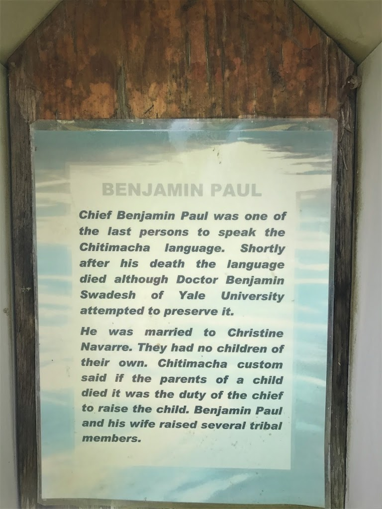 Chief Benjamin Paul was one of the last persons to speak the Chitimacha language. Shortly after his death the language died although Doctor Benjamin Swadesh of Yale University attempted to preserve ...