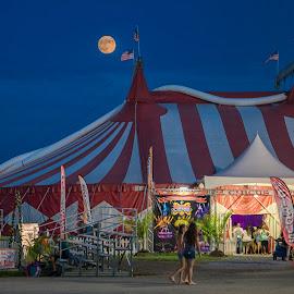 Over the big top by Deborah Felmey - City,  Street & Park  Amusement Parks ( moon, state fair, night, delaware, circus, fair, landscape )