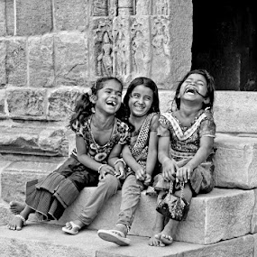 Joy by Bharathkumar Hegde - City,  Street & Park  Street Scenes ( temple, street, india, kids, karnataka )