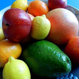 Bowl of Fruit by Kathy Rose Willis - Food & Drink Fruits & Vegetables ( tang, bowl, fruit, colorful, avocado, grapefruit, lemon, plum )