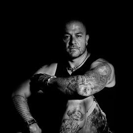by Carel Van Vuuren - People Body Art/Tattoos ( studio, attitude, black and white, male, legs, arms, tattoo, portrait, man )