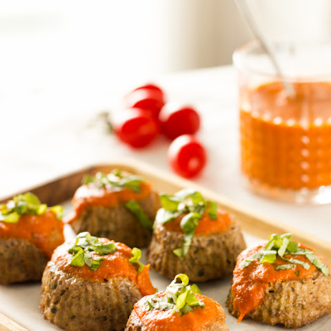 Hidden Veggie Meatloaf Muffins With Roasted Tomato Sauce