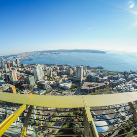 Seattle From the Space Needle by John Pounder - City,  Street & Park  Vistas ( washington, wide angle, needle, space, seatle )