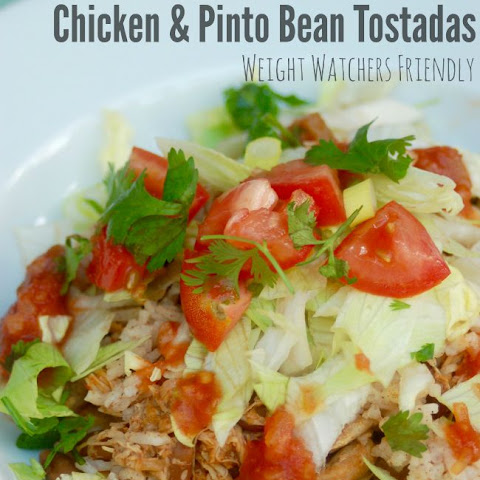 Skinny Slow Cooker Chicken and Pinto Bean Tostadas