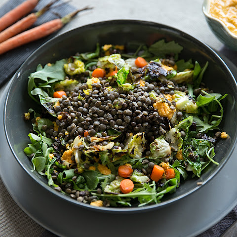 Beluga Lentils With Crispy Brussel Leaves, Carrots + Fennel With A Ginger Dressing