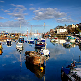 Brixham in the Sun by Andy Toby - Transportation Boats ( harbour, boats, devon, sea, ships, brixham )